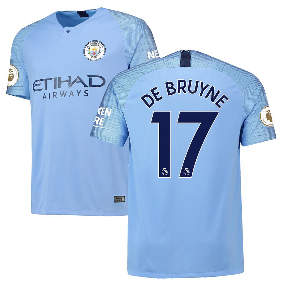 Majestic Athletic Manchester City Men's Kevin De Bruyne #17 201819 Home Blue Jersey