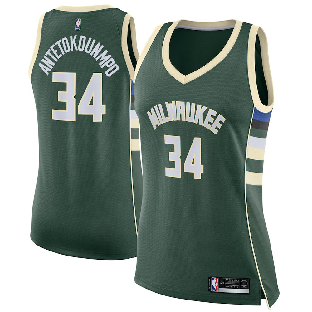 Majestic Athletic Giannis Antetokounmpo #34 Milwaukee Bucks Women's Swingman Jersey Green