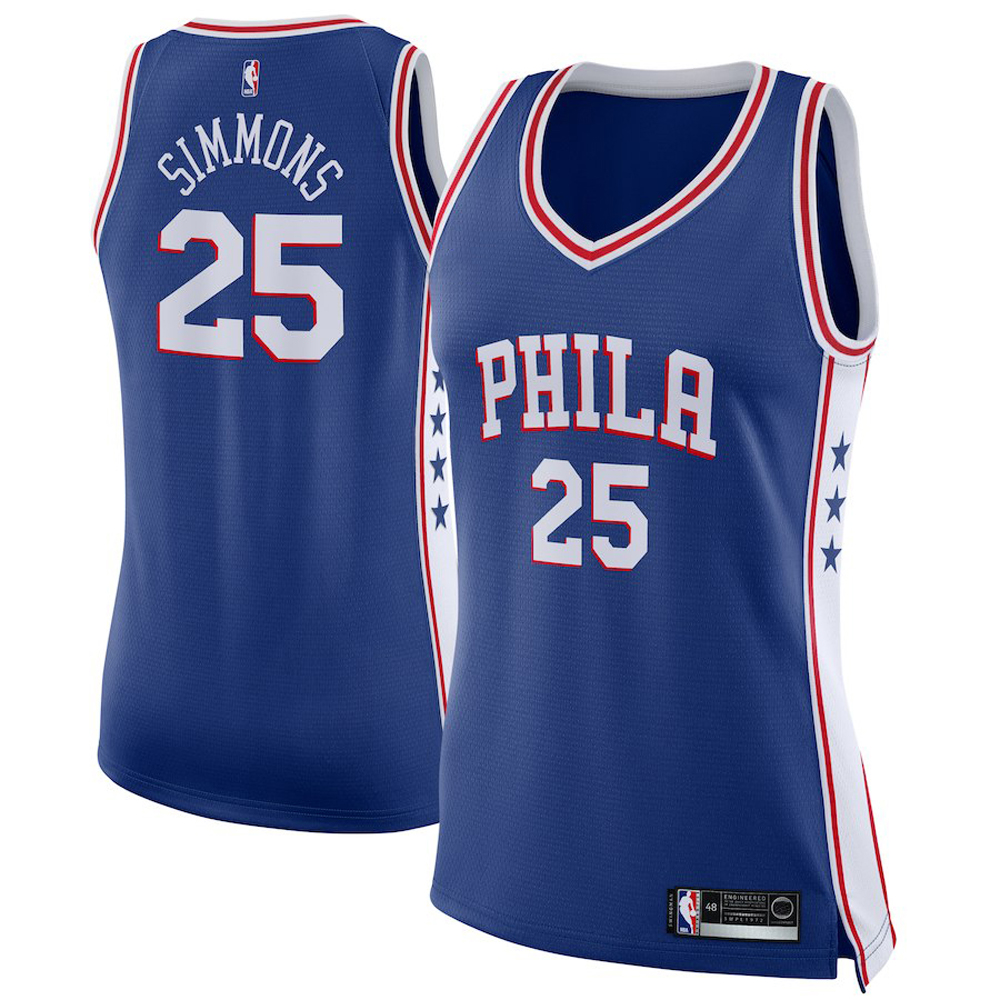Majestic Athletic Ben Simmons #25 Philadelphia 76ers Women's Swingman Jersey Royal
