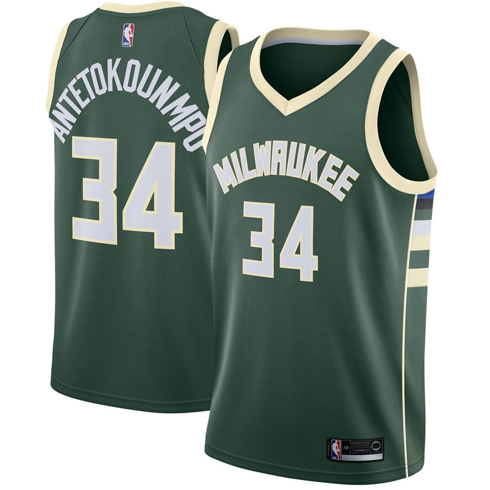 Majestic Athletic Giannis Antetokounmpo Men's #34 Milwaukee Bucks Swingman Jersey Green