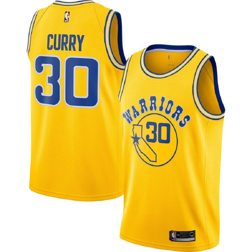 Majestic Athletic Men's Stephen Curry Golden State Warriors Swingman #30 Gold Jersey