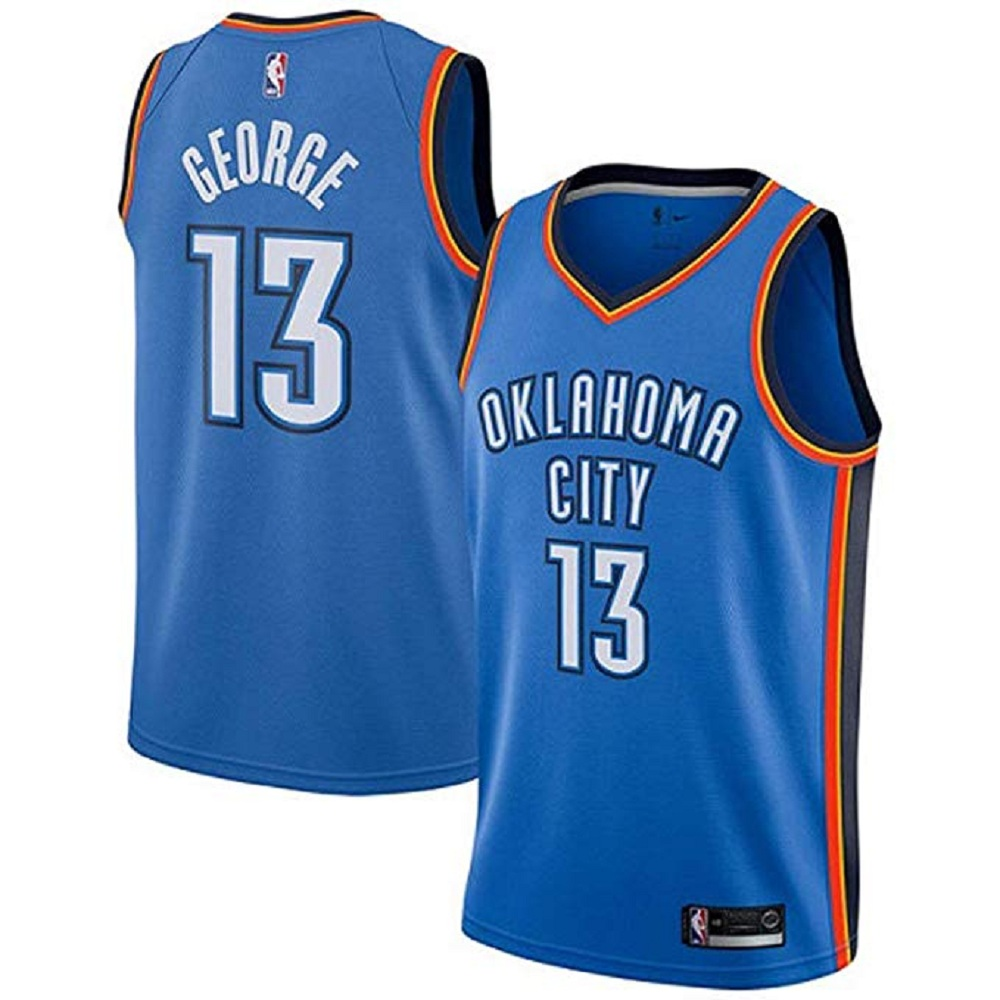 Majestic Athletic Oklahoma City Thunder Paul George #13 Women's Royal Swingman Jersey