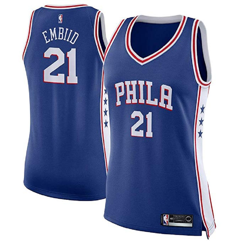 Majestic Athletic Philadelphia 76ers Royal #21 Joel Embiid Women's Swingman Jersey