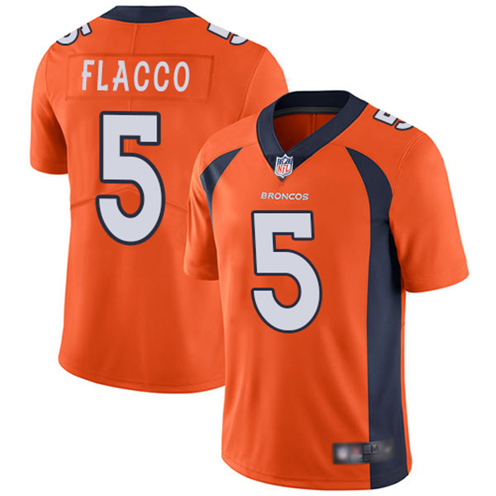 Men's Denver Broncos Joe Flacco 5# Orange Limited Stitch Jersey