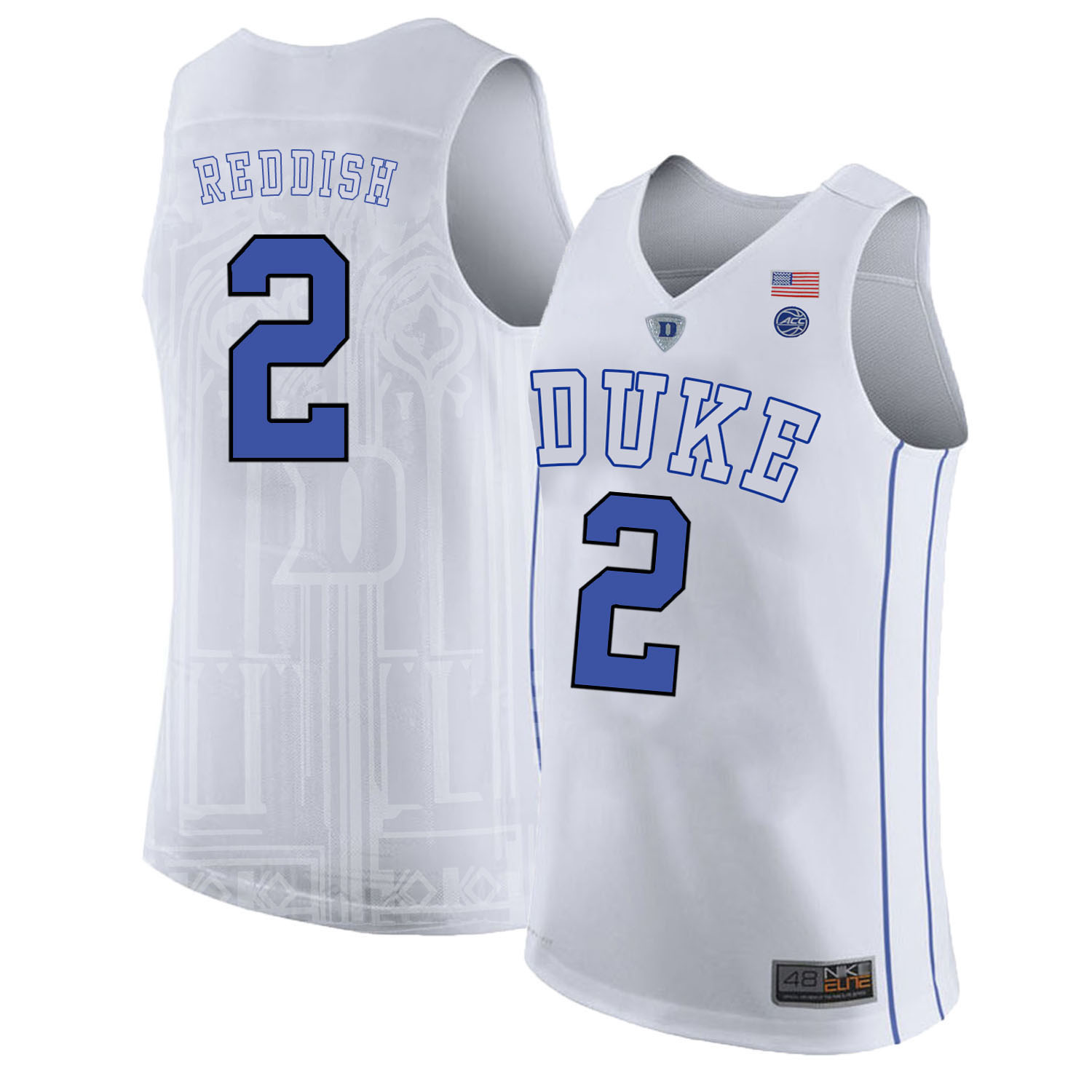 Majestic Athletic Men's Duke Blue Devils #2 Cam Reddish White College Basketball Jersey