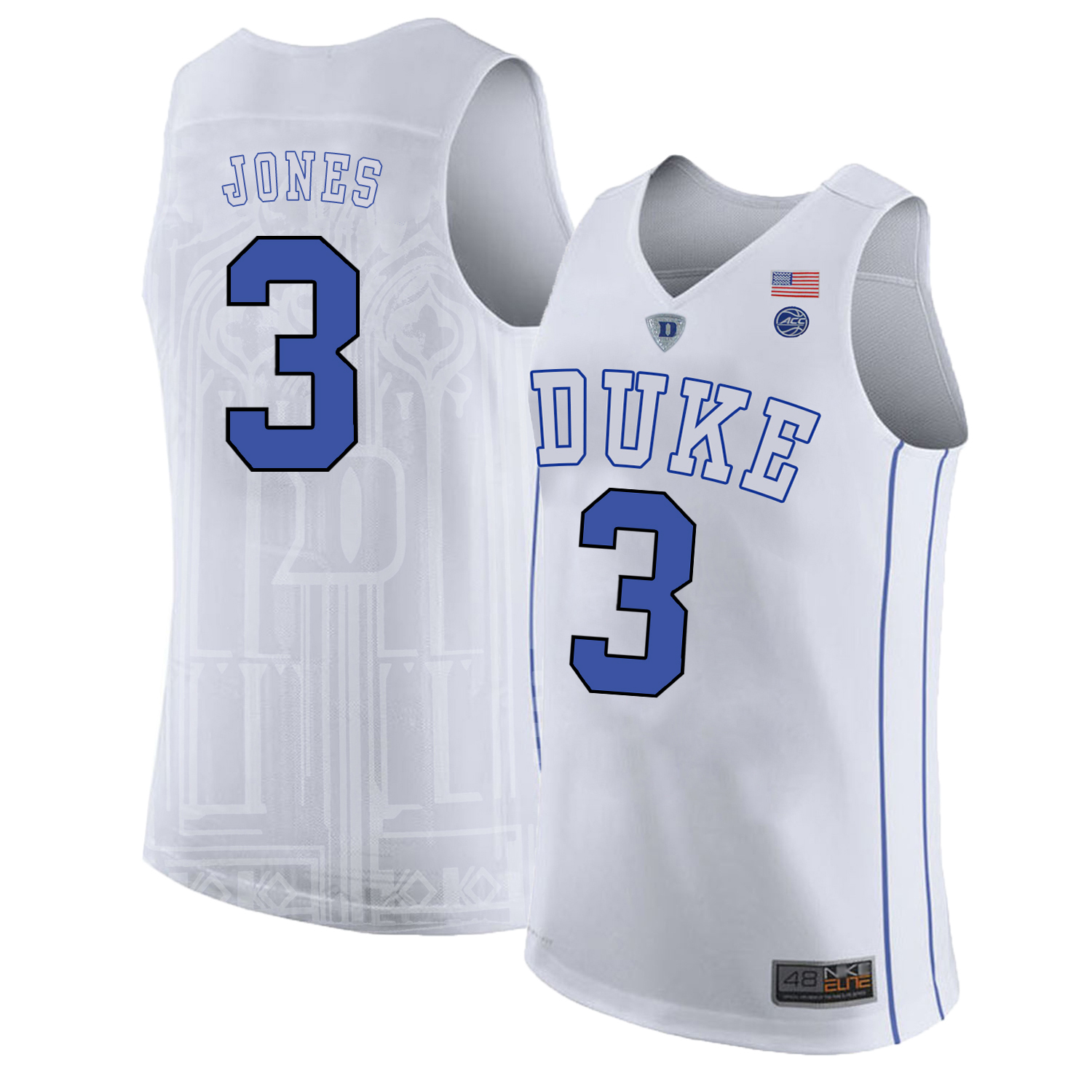 Majestic Athletic Men's Duke Blue Devils #3 Tre Jones White College Basketball Jersey