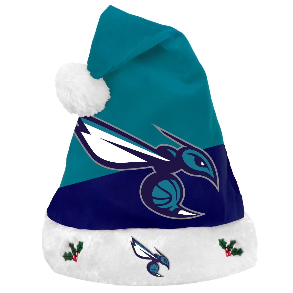 Charlotte Hornets 2018 NBA Basic Logo Plush Christmas Santa Hat