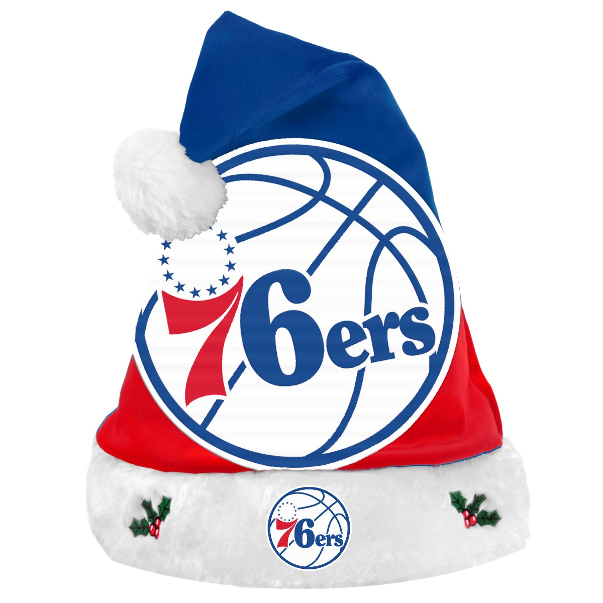 Philadelphia 76ers 2018 NBA Basic Logo Plush Christmas Santa Hat