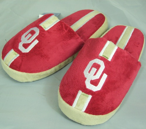 Oklahoma Sooners Youth Team Stripe Plush Slippers