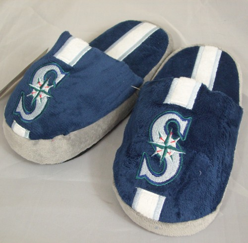 Seattle Mariners Youth Team Stripe Plush Slippers