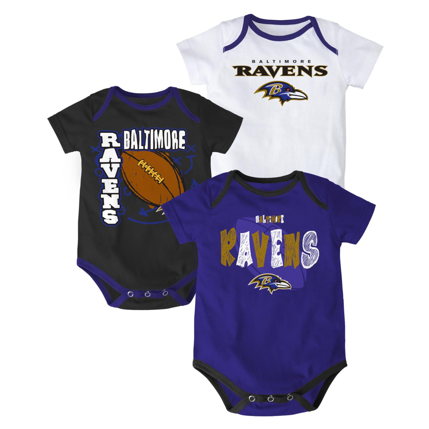 "Baltimore Ravens NFL ""3 Point Spread"" Infant 3 Pack Bodysuit Creeper Set"