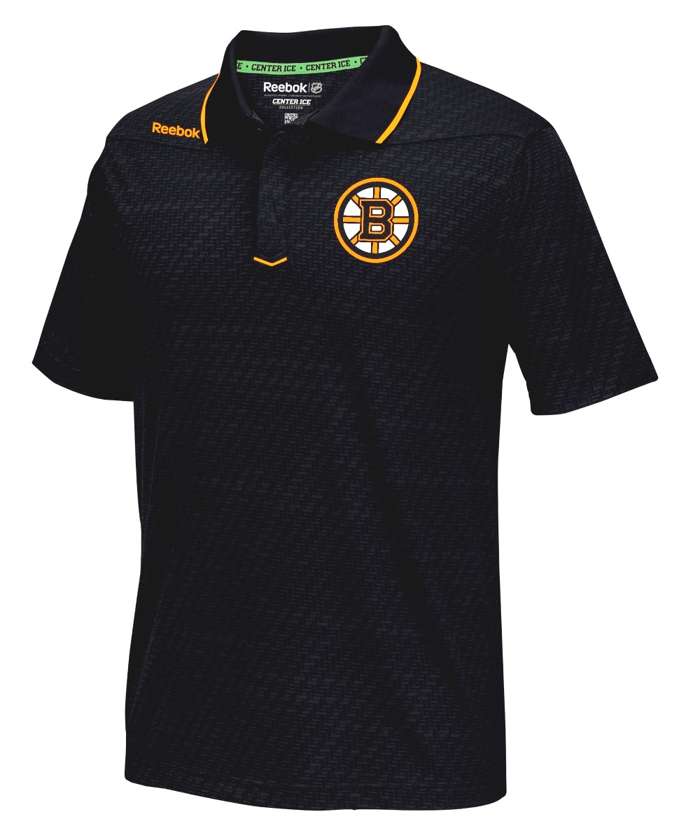 "Boston Bruins Reebok NHL 2016 Center Ice ""Travel"" Speedwick Polo Shirt"