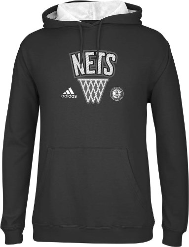 Brooklyn Nets Adidas 2013 NBA Playbook Hooded Sweatshirt - Black
