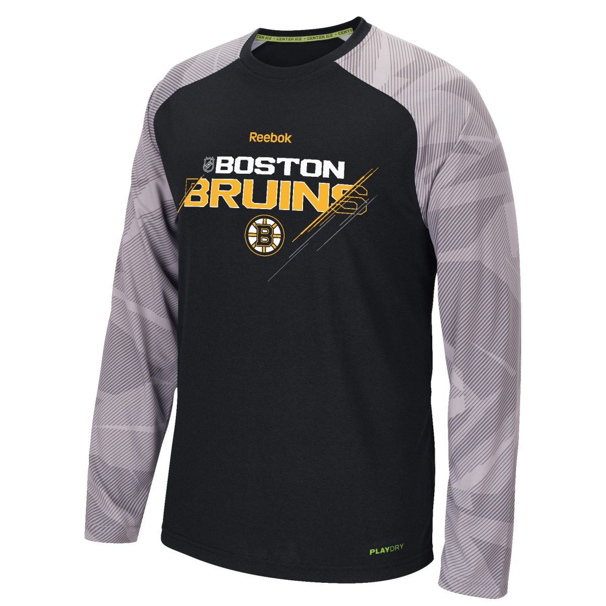 Boston Bruins Reebok NHL 2015 Center Ice TNT Long Sleeve Performance Shirt