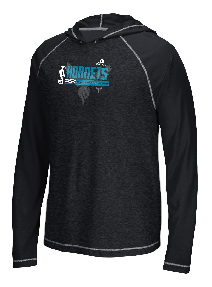 "Charlotte Hornets Adidas NBA ""Fast Break"" Men's Climalite Hooded L/S Shirt"