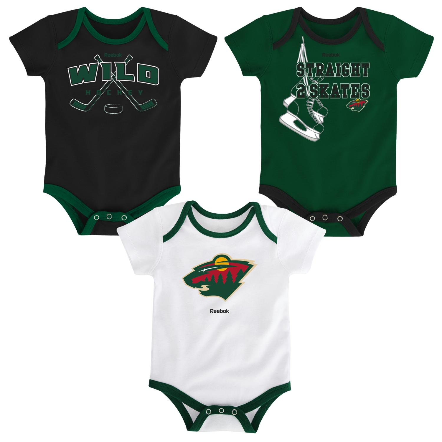 "Minnesota Wild NHL Reebok ""Hat Trick"" Infant 3 Pack Bodysuit Creeper Set"