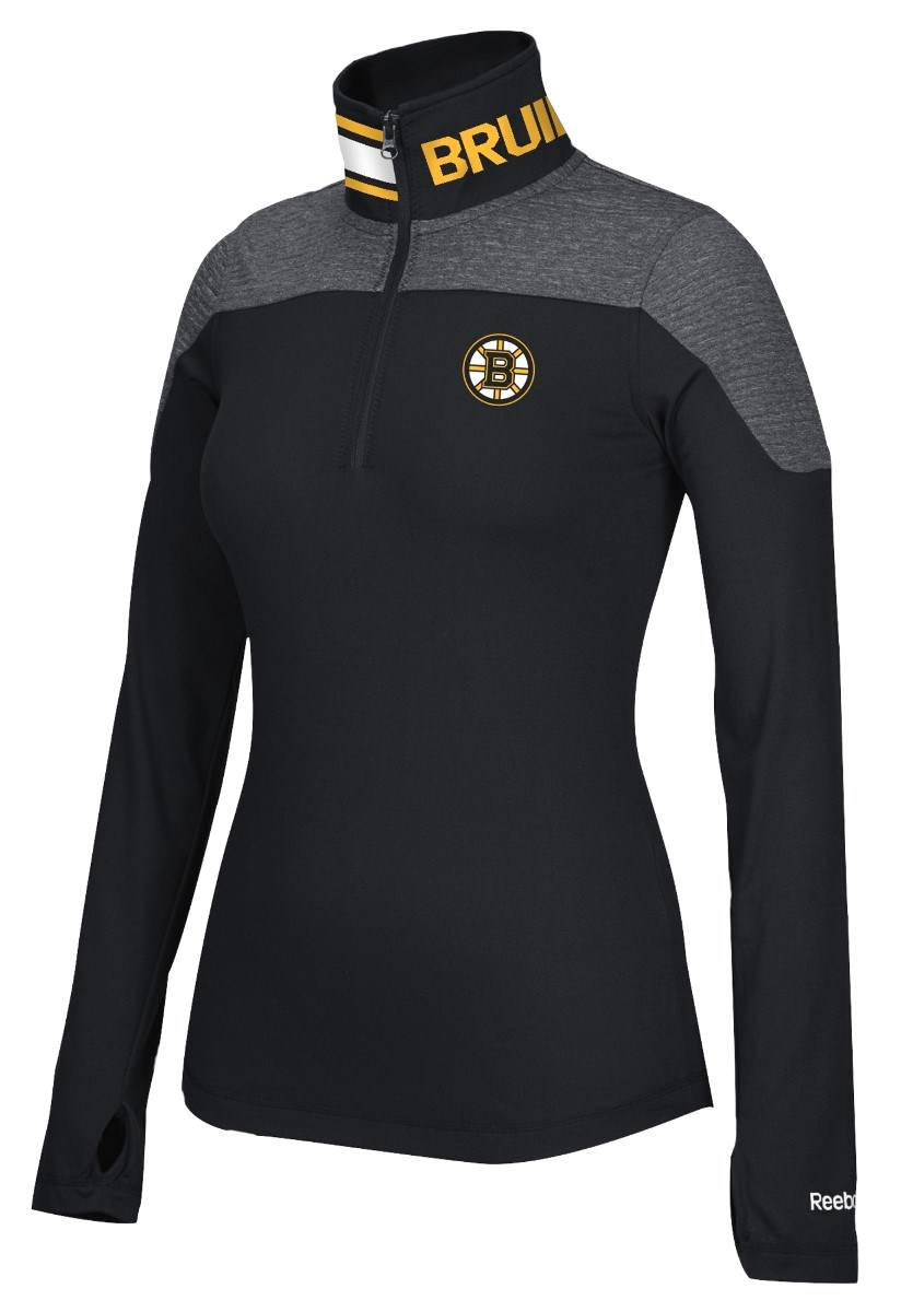 Boston Bruins Women's NHL Reebok 1/4 Zip Performance Pullover Jacket