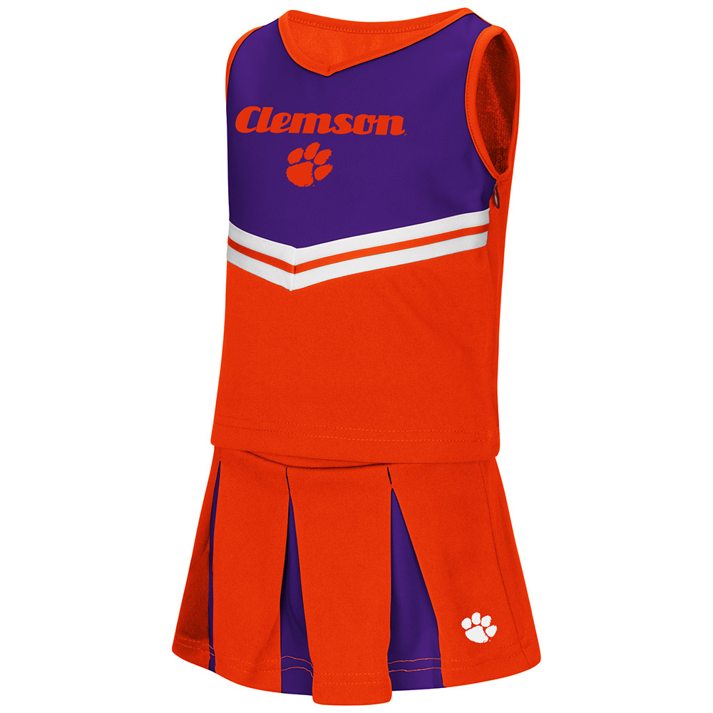 "Clemson Tigers NCAA Toddler ""Pom Pom"" 2 Piece Set Cheerleader Outfit"