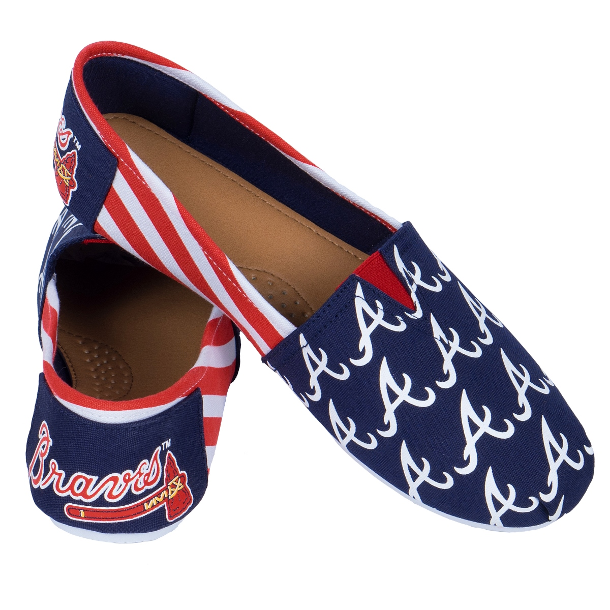 Atlanta Braves Women's MLB Slip On Canvas Stripe Shoe Slippers