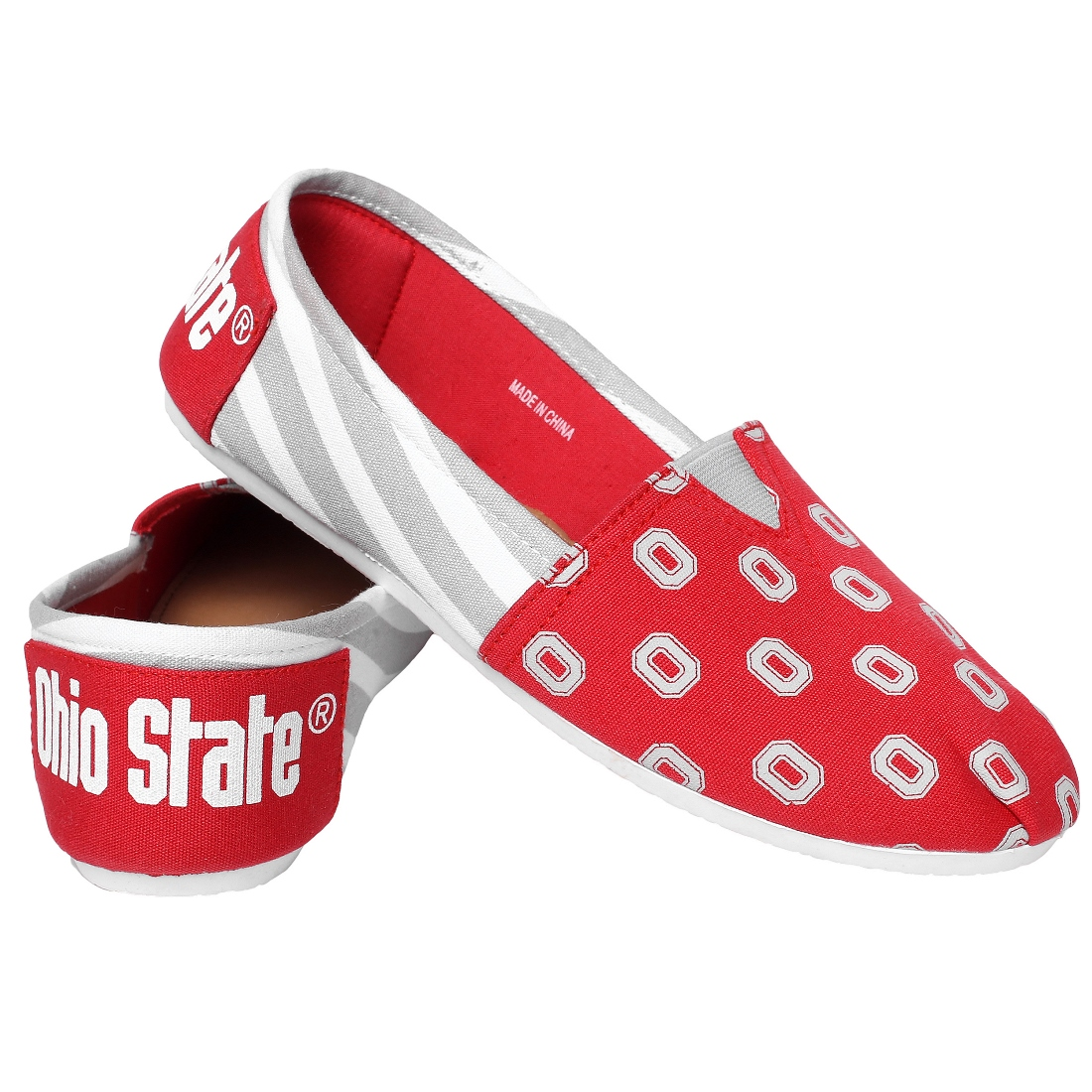 Ohio State Buckeyes Women's NCAA Slip On Canvas Stripe Shoe Slippers
