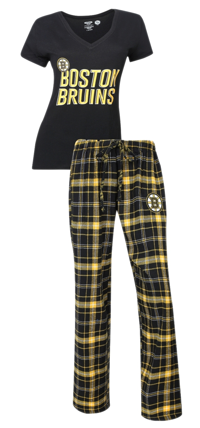 "Boston Bruins NHL ""Game Day"" Women's T-shirt & Flannel Pajama Sleep Set"