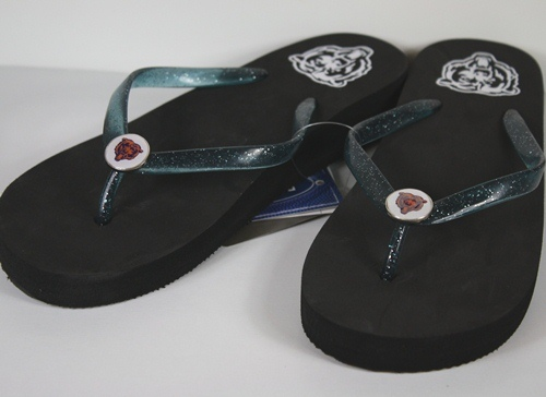 Chicago Bears Womens Wedge Flip Flop Slippers