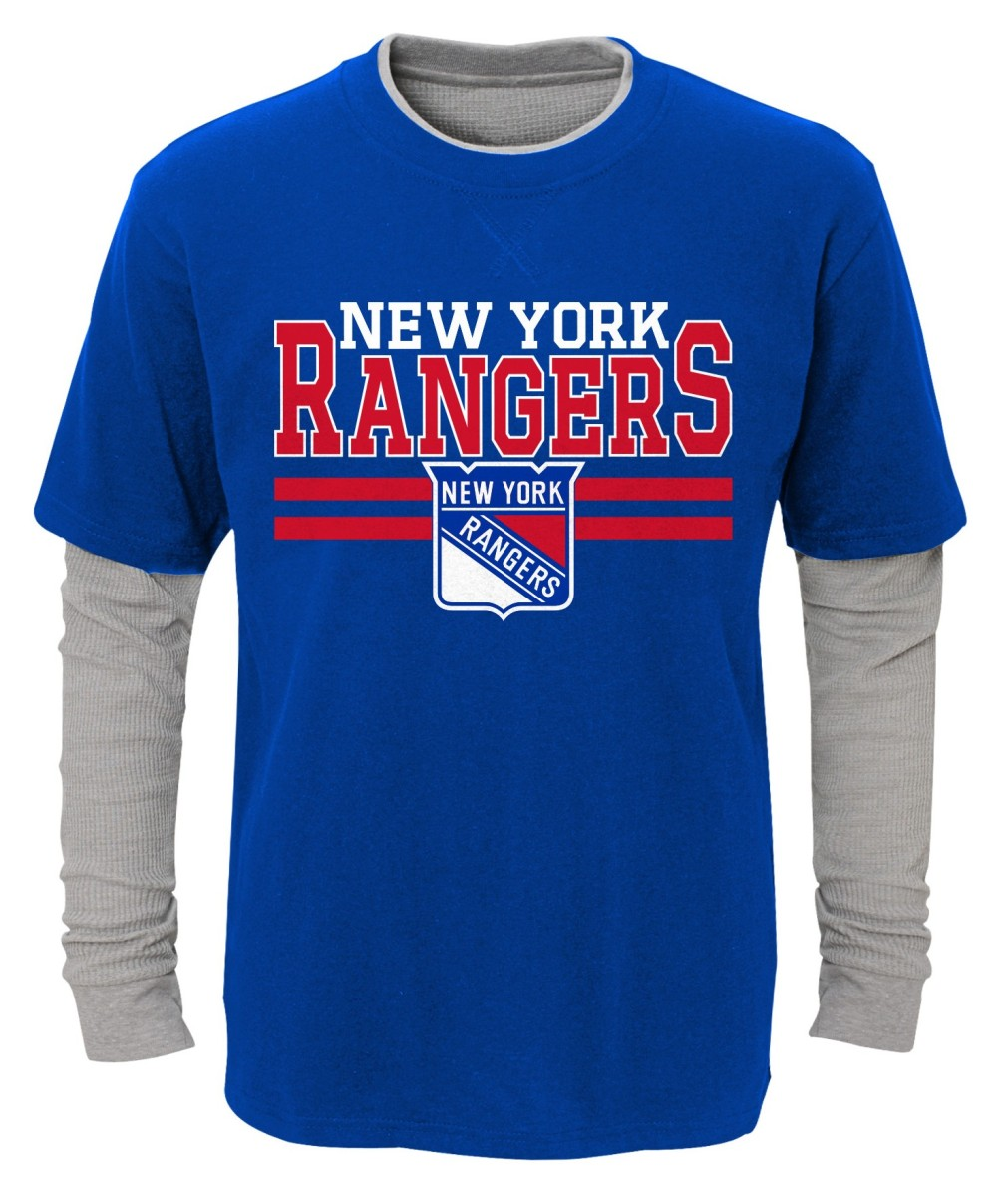 "New York Rangers Youth NHL ""Defensive Pair"" L/S Faux Layer Thermal Shirt"