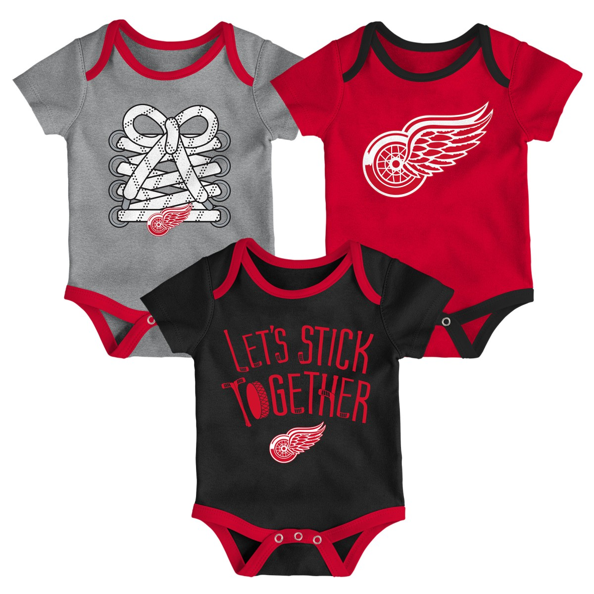"Detroit Red Wings NHL ""Five on Three"" Infant 3 Pack Bodysuit Creeper Set"