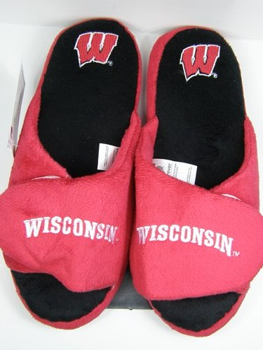 Wisconsin Badgers 2011 Open Toe Two Tone Hard Sole Slippers