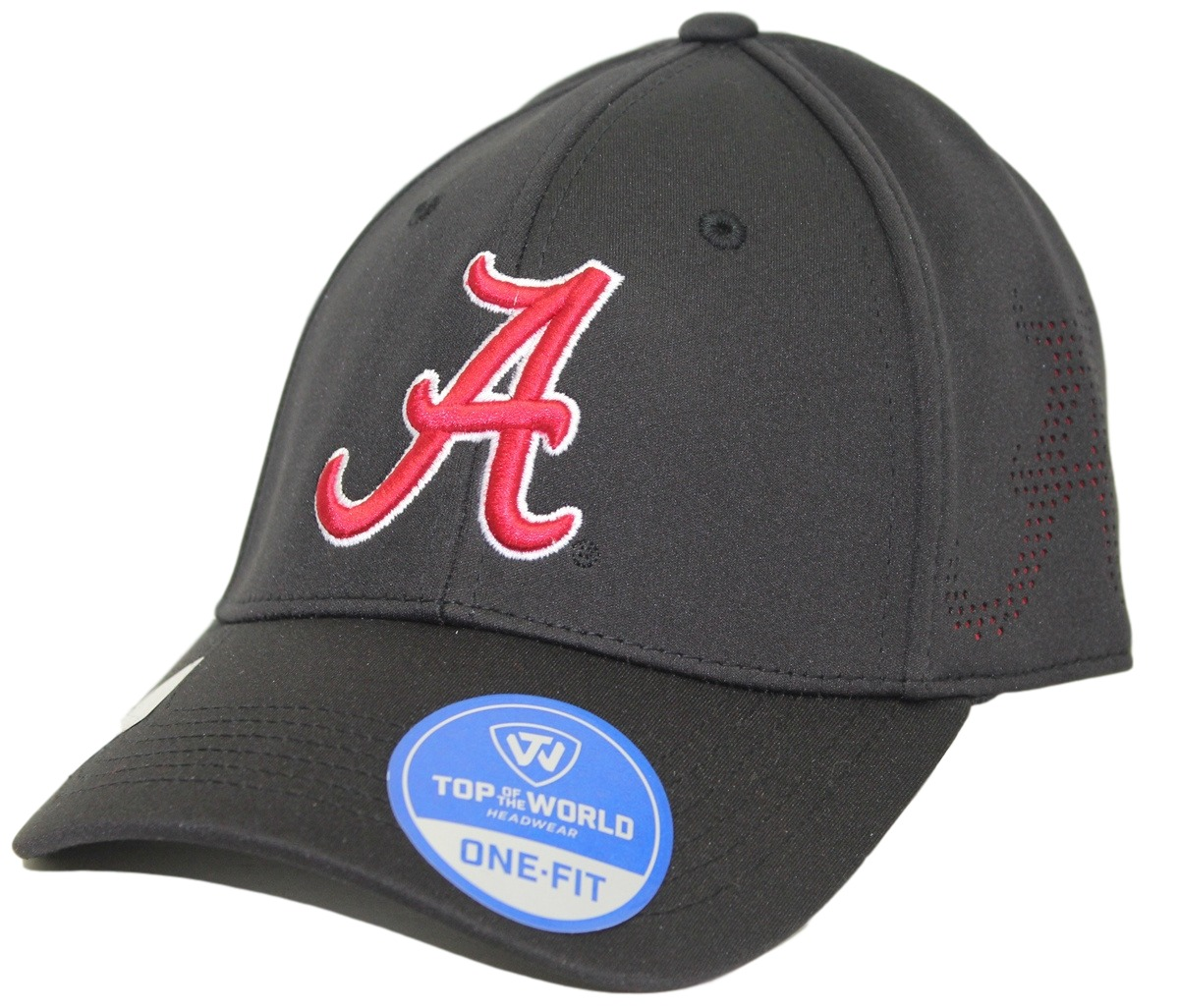 "Alabama Crimson Tide NCAA TOW ""Rails Black"" Stretch Fit Performance Mesh Hat"