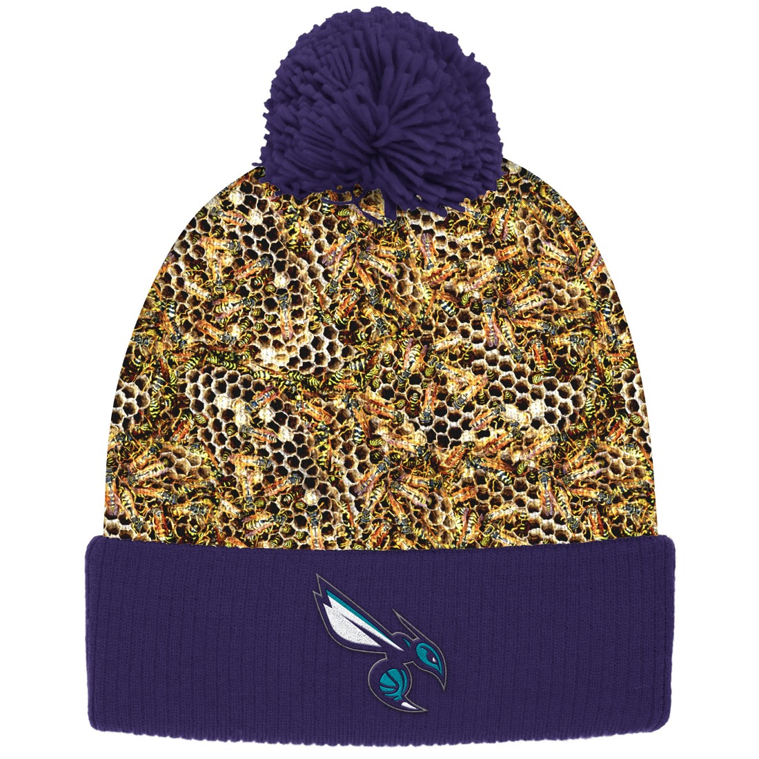 "Charlotte Hornets Mitchell & Ness NBA ""Thematic"" Cuffed Pom Knit Hat"