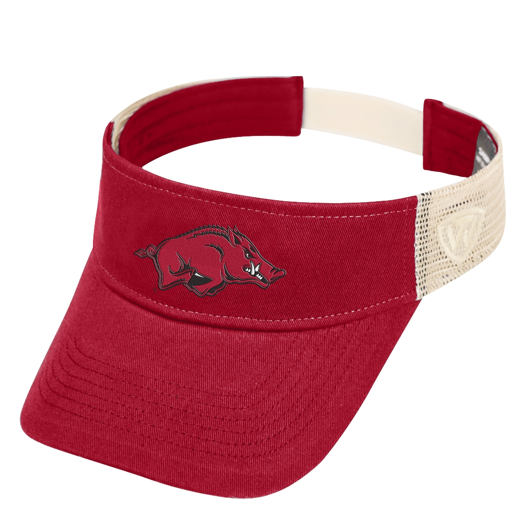 "Arkansas Razorbacks NCAA Top of the World ""Sandstone"" Mesh Back Visor"