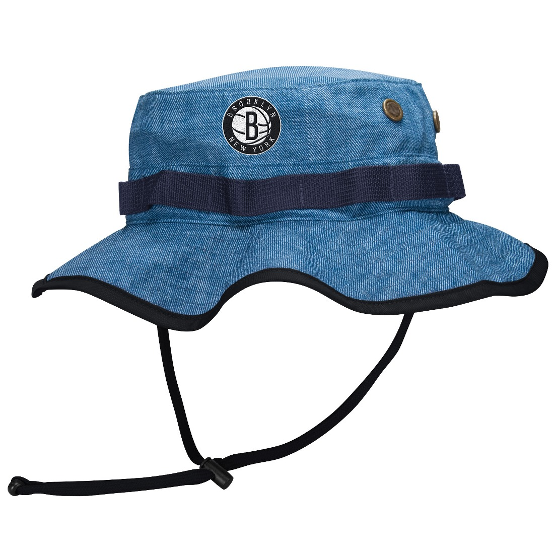 "Brooklyn Nets Mitchell & Ness NBA ""Denim Boonie"" Bucket Hat"