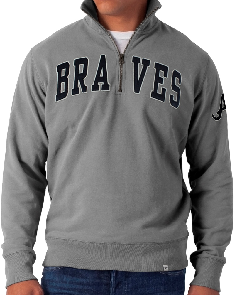 Atlanta Braves 47 Brand MLB Vintage Striker 1/4 Zip Premium Sweatshirt