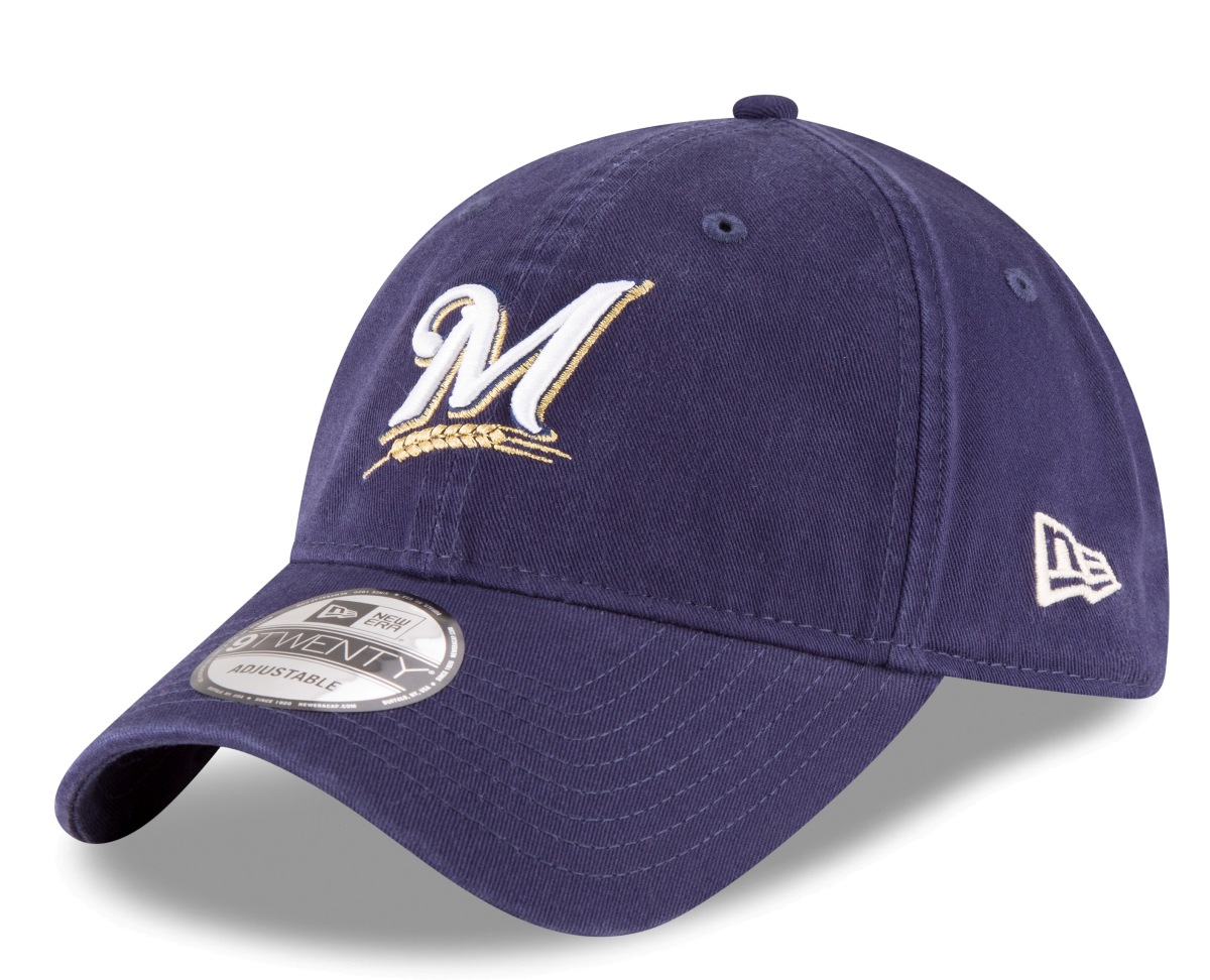 "Milwaukee Brewers New Era 9Twenty MLB ""Twill Core Classic"" Adjustable Hat - Navy"