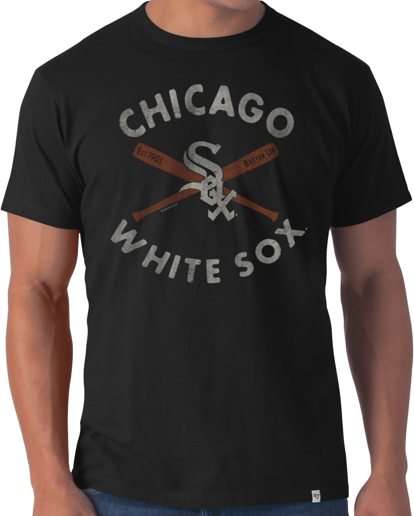 "Chicago White Sox 47 Brand MLB ""Bats"" Flanker Premium Men's T-Shirt"