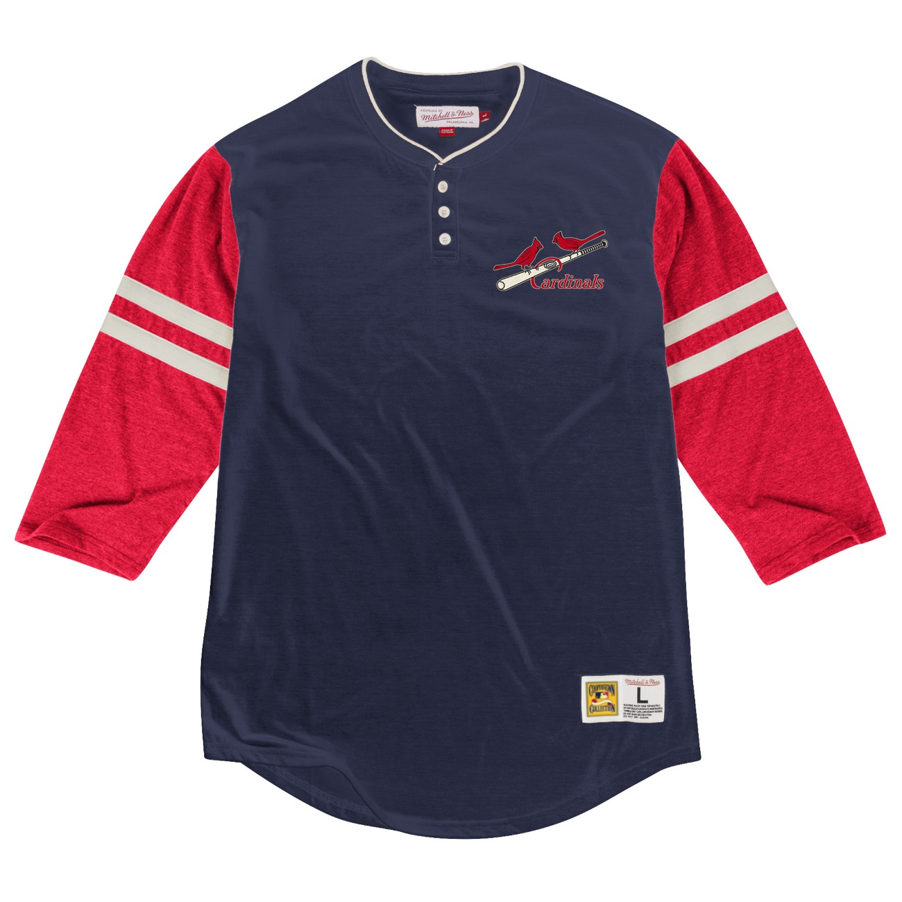 "St. Louis Cardinals Mitchell & Ness MLB ""Home Stretch"" 3/4 Sleeve Henley Shirt"
