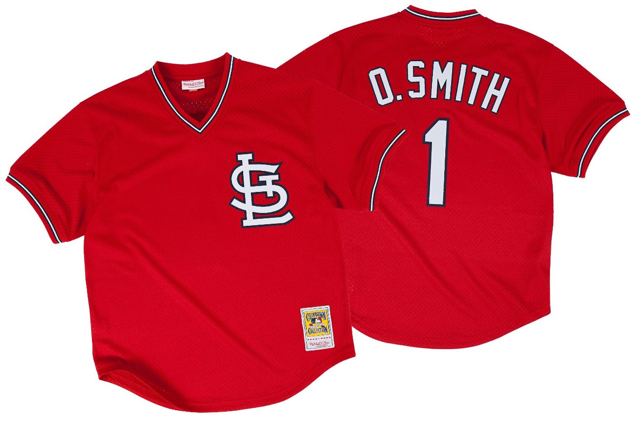 Ozzie Smith St. Louis Cardinals Mitchell & Ness Authentic 1996 Red BP Jersey