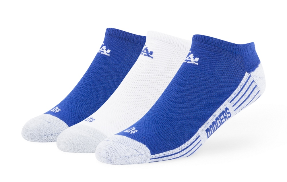 "Los Angeles Dodgers MLB 47 Brand ""Float"" 3 Pack Colorblocked Men's No Show Socks"