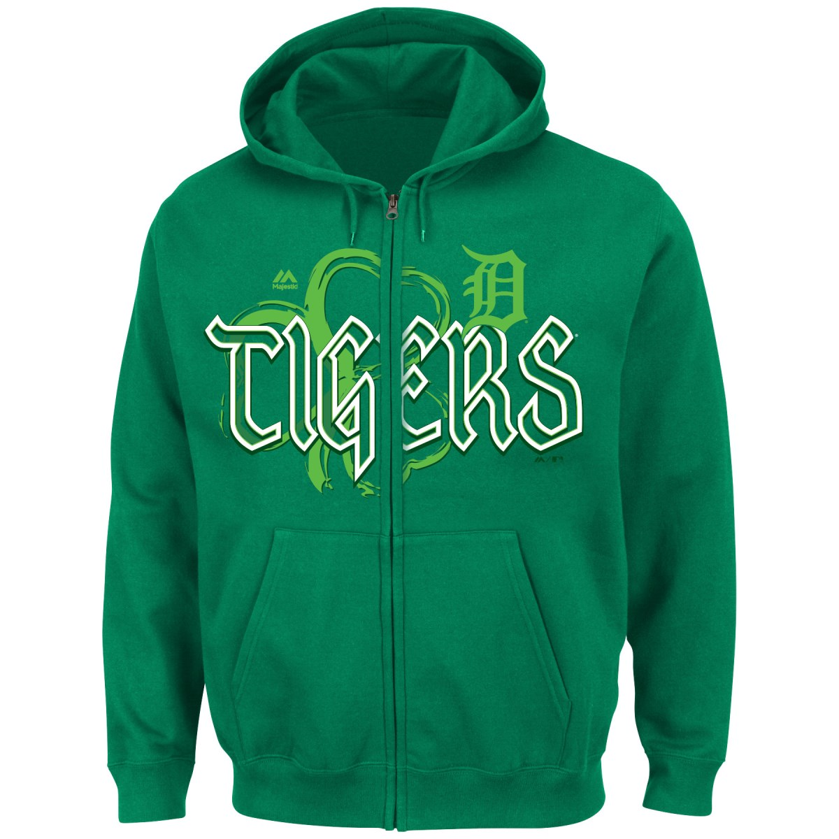 "Detroit Tigers Majestic MLB ""Lucky Season"" Full Zip Hooded Sweatshirt - Green"