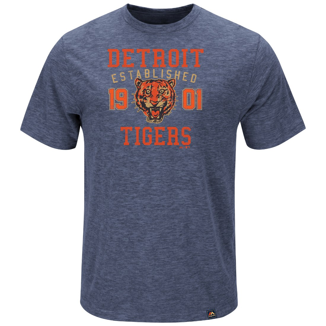 "Detroit Tigers Majestic MLB ""Heads Or Tails"" Cooperstown Hyper Slub S/S Shirt"