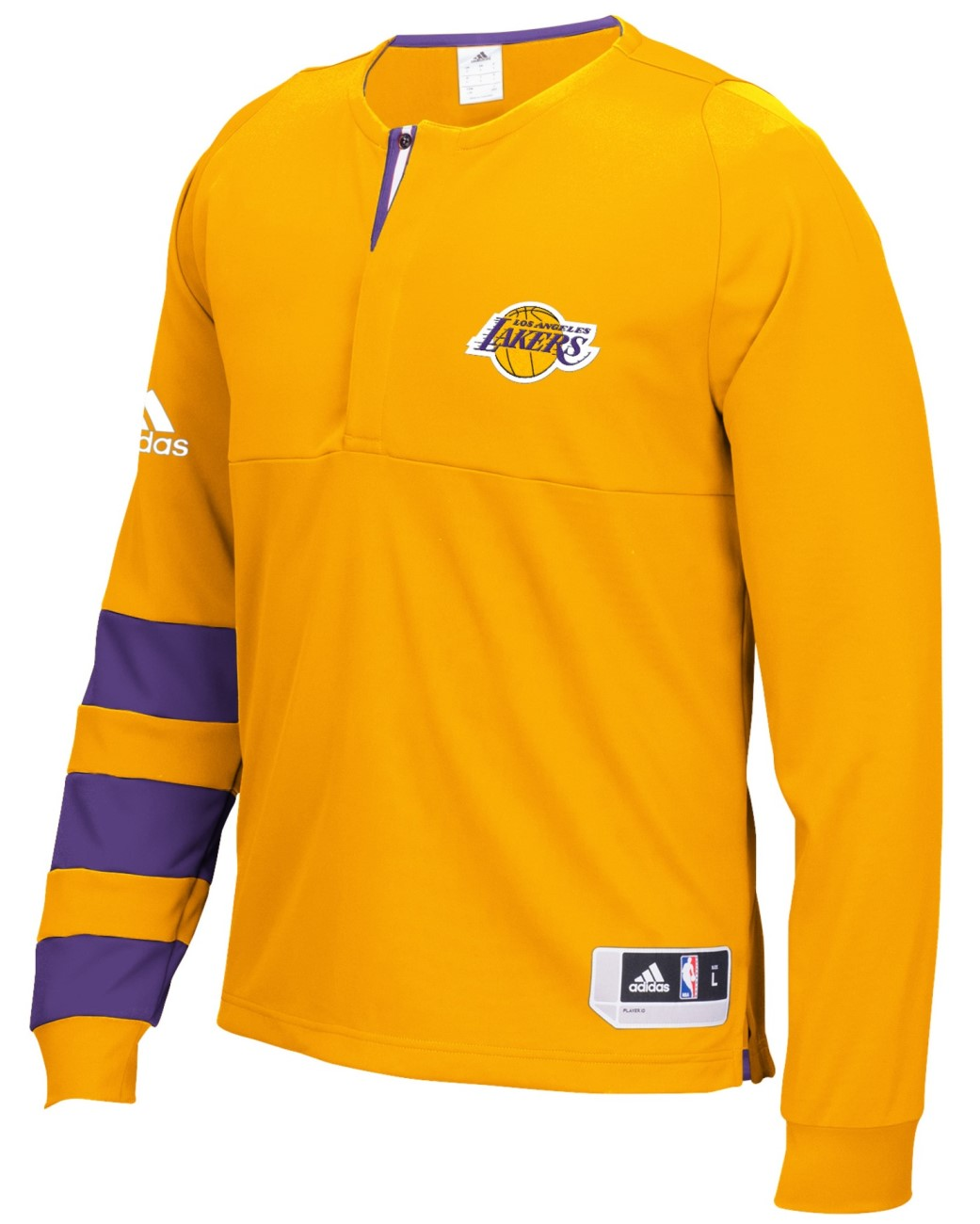 Los Angeles Lakers Adidas 2016 NBA Men's On-Court Authentic L/S Shooting Shirt
