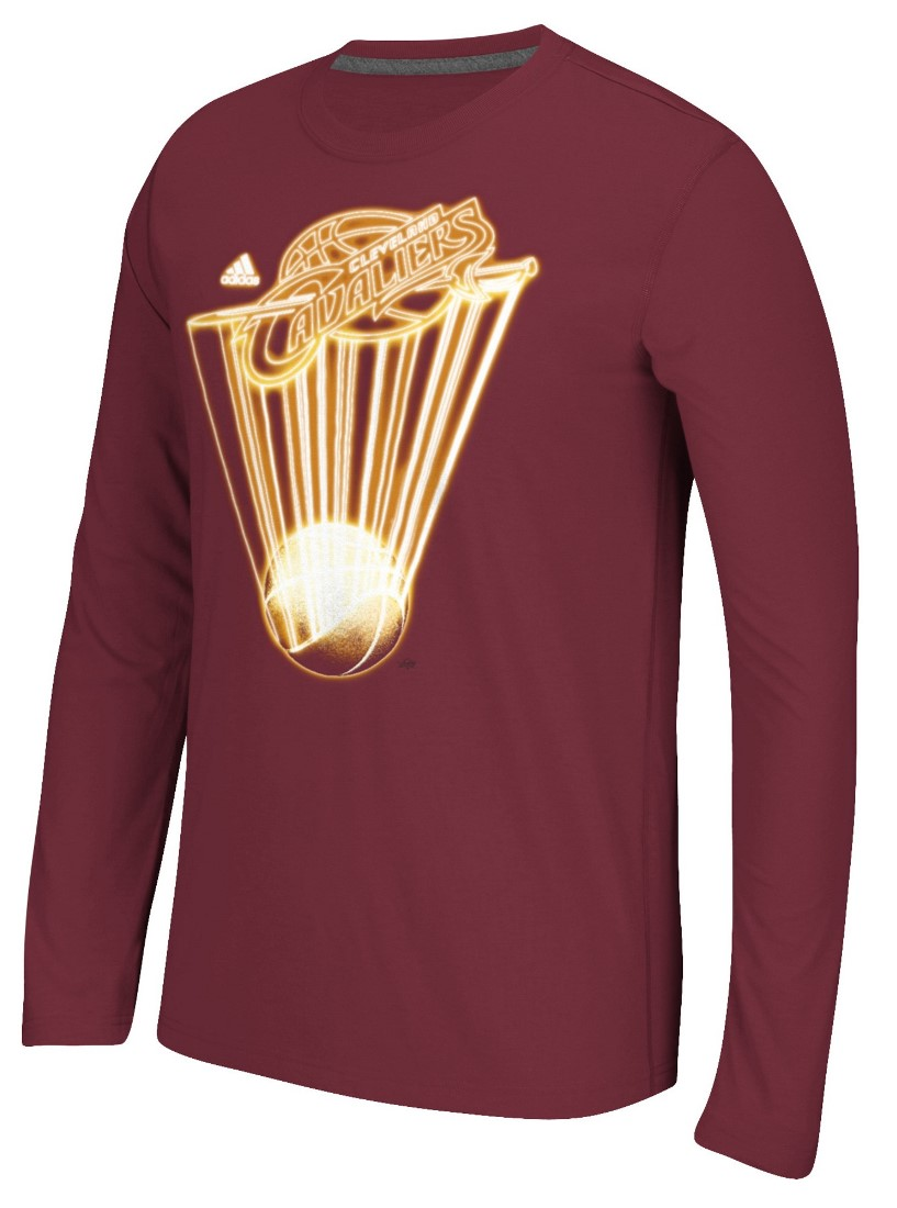 "Cleveland Cavaliers Adidas NBA ""Glow Explode"" Climalite Performance L/S Shirt"