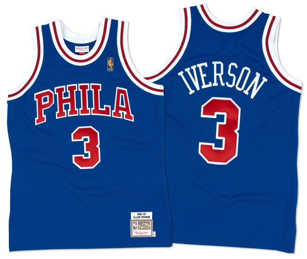Allen Iverson Philadelphia 76ers Mitchell & Ness Authentic 1996 Blue NBA Jersey