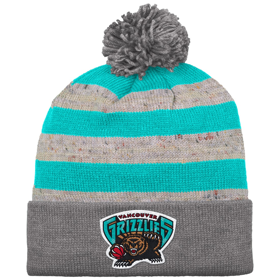 "Vancouver Grizzlies Mitchell & Ness NBA ""Speckled Crown"" Cuffed Knit Hat w/ Pom"