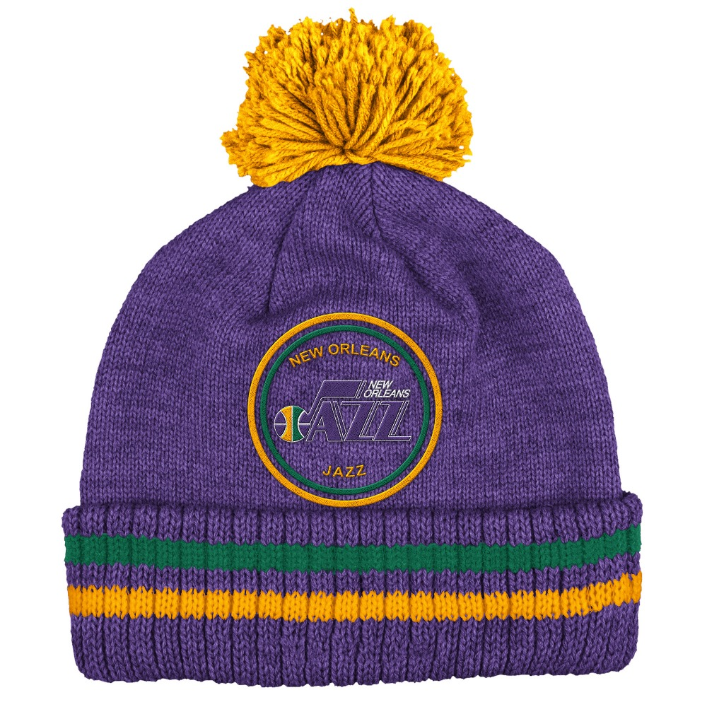 "New Orleans Jazz Mitchell & Ness NBA ""Big Man"" Cuffed Premium Pom Knit Hat"