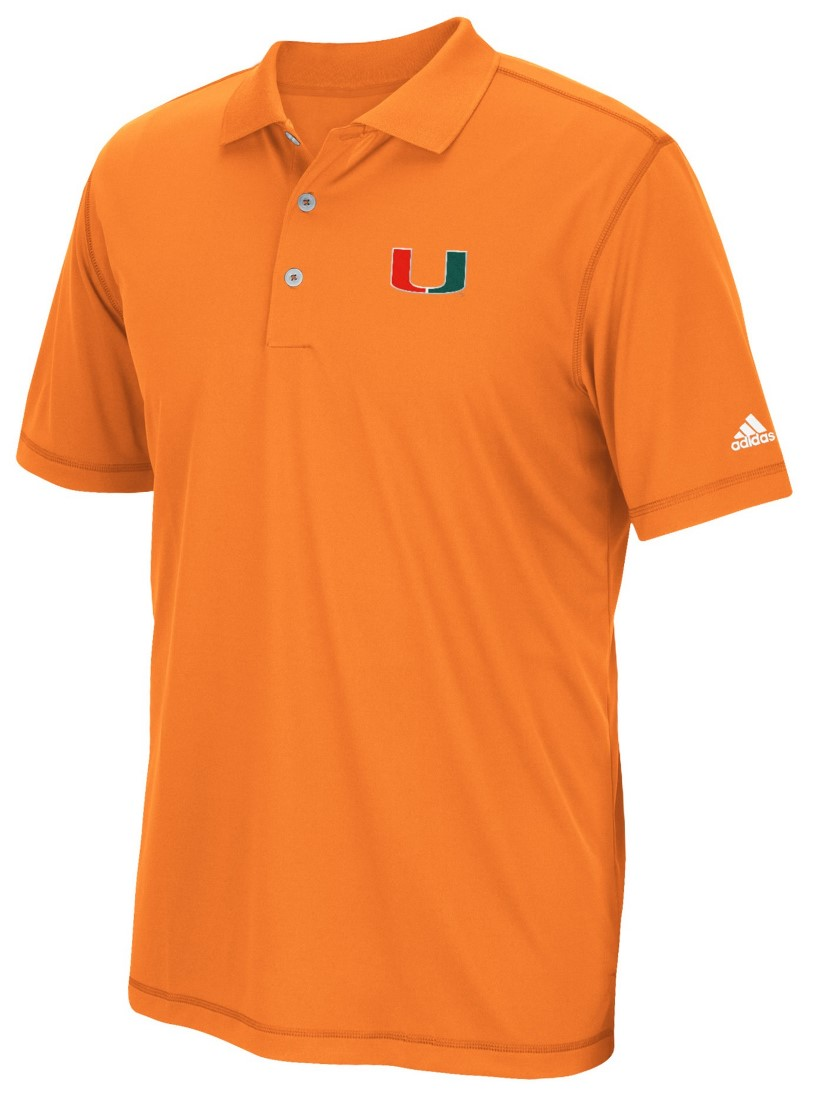 "Miami Hurricanes Adidas NCAA ""Pure Motion"" Climalite Polo Shirt - Orange"