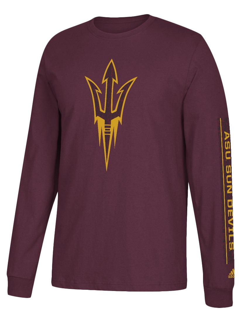 "Arizona State Sun Devils Adidas NCAA ""Left Text"" Men's Long Sleeve T-shirt"