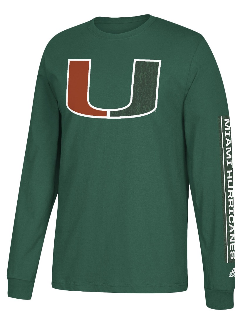 "Miami Hurricanes Adidas NCAA ""Left Text"" Men's Long Sleeve T-shirt"