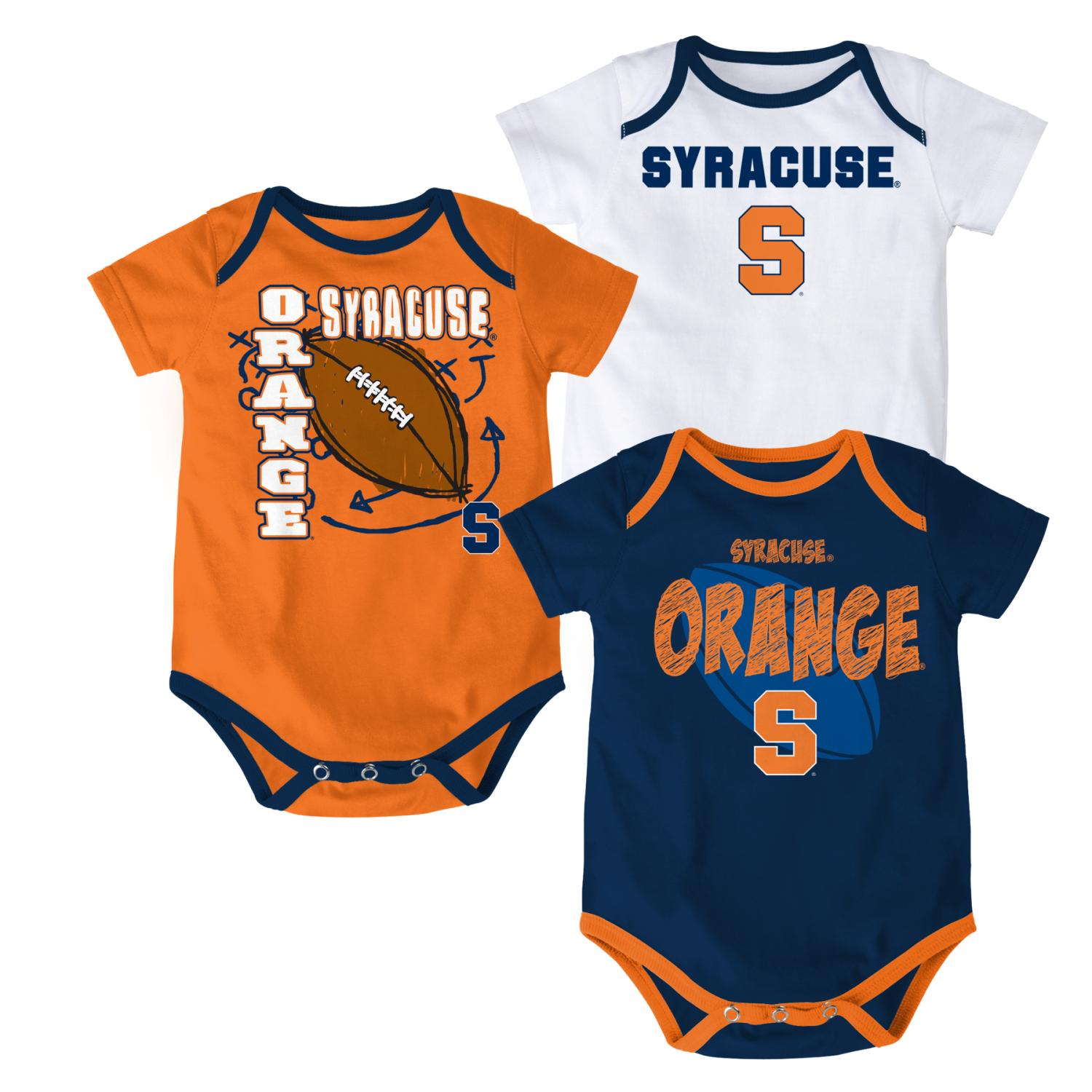 "Syracuse Orange NCAA ""3 Point Spread"" Newborn 3 Pack Bodysuit Creeper Set"